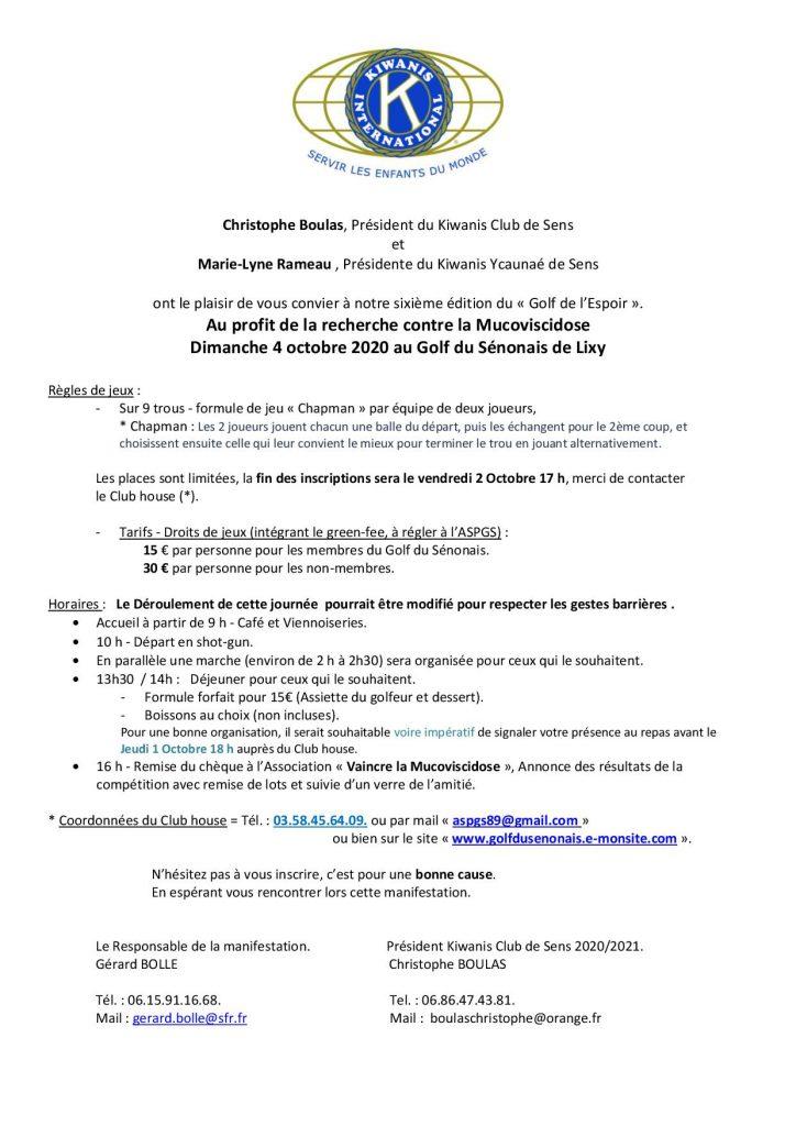 Kiwanis Invitation Golf 2020